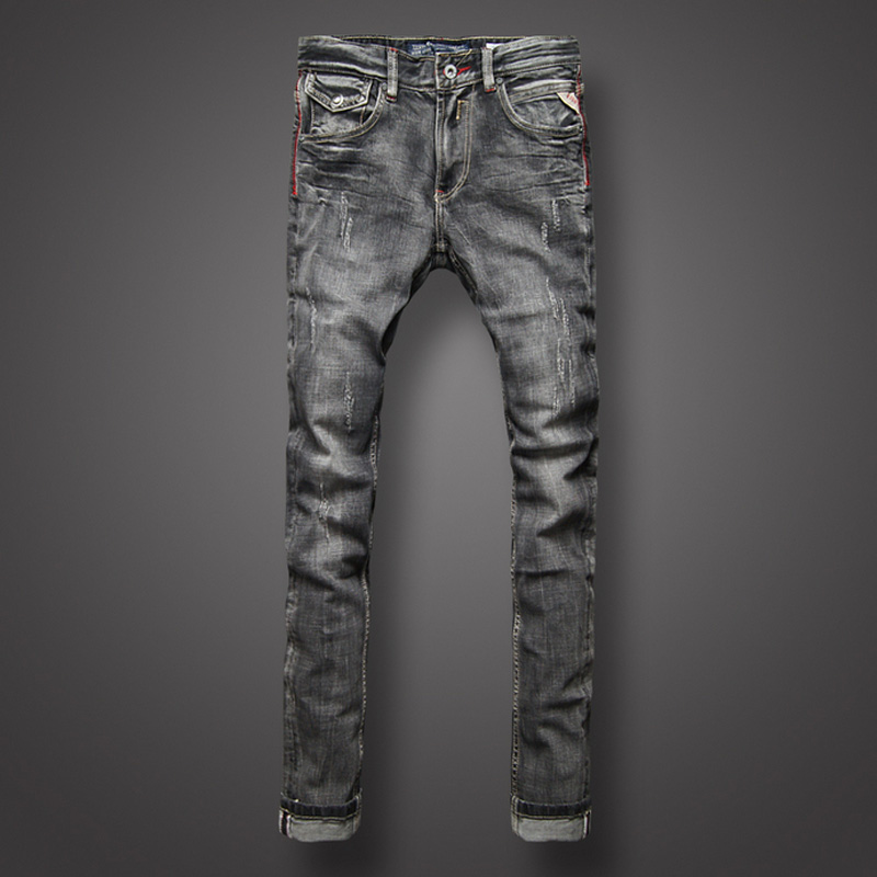 Black Gray Color Denim Mens Jeans High Quality Italian Style Retro Design Slim Fit Ripped Jeans For Men Brand Biker Jeans Pants