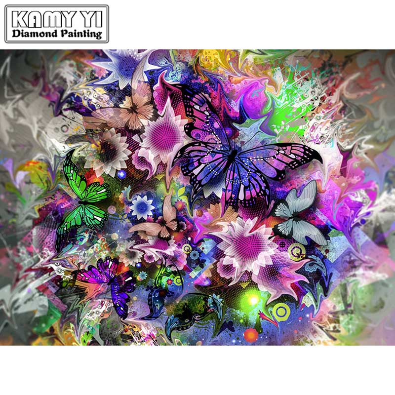 Full Drill Square Diamond 5D DIY Diamond PaintingPretty butterflyDiamond Embroidery Cross Stitch Rhinestone Mosaic Painting