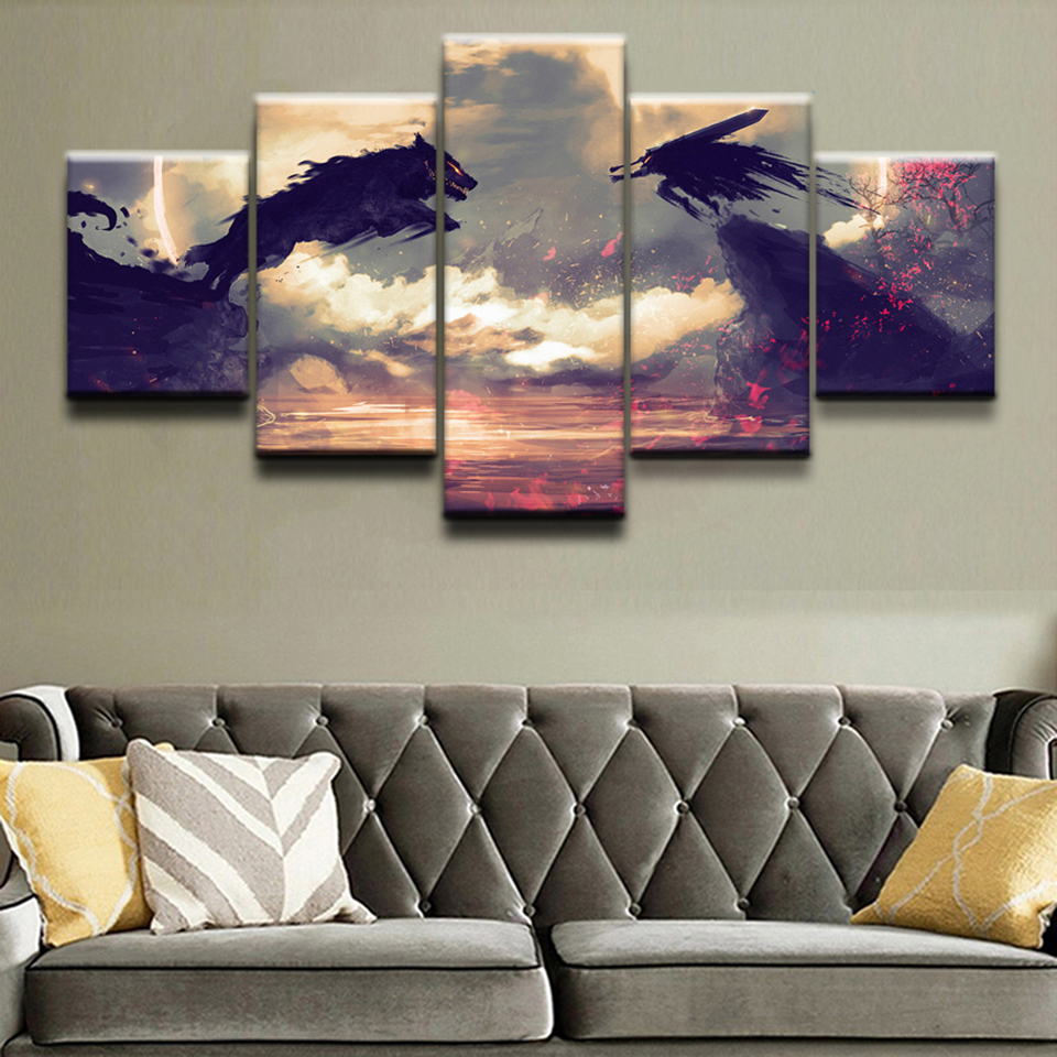 Modular Art Painting HD Printed Frame Home Decor 5 Panel Anime Berserk Guts Wolf  Living Room Wall Pictures Canvas Poster  1