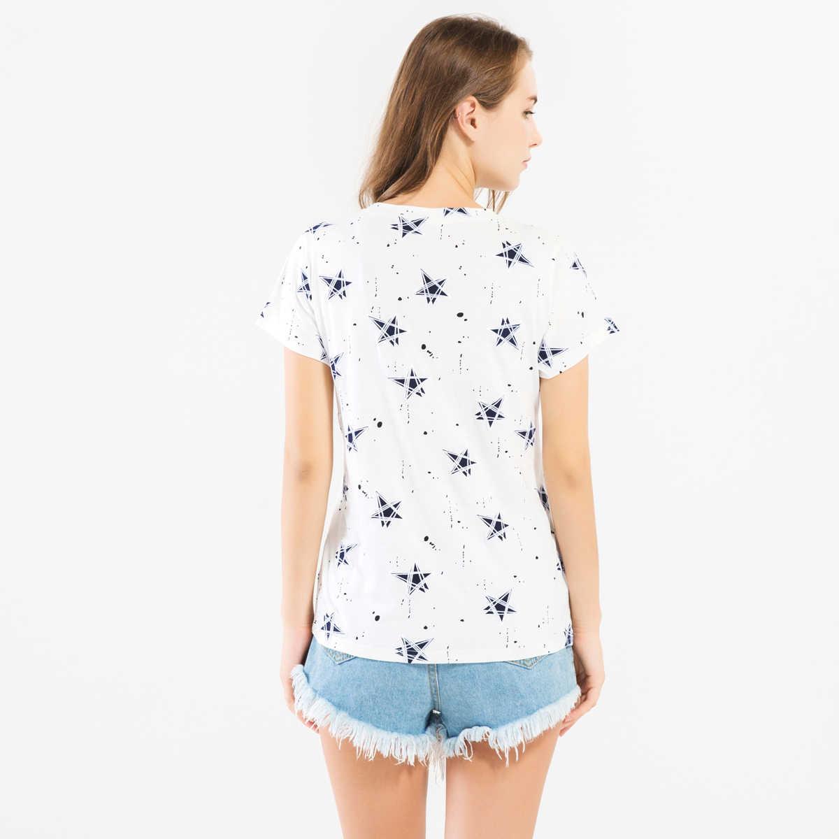 Новинка, брендовая одежда с 3D принтом звезд, женская летняя футболка 2019 года с короткими рукавами и круглым вырезом, хлопковые толстовки в стиле хип-хоп высокого качества