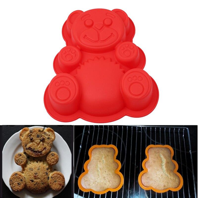 Силиконовые формы медведя помадка форма Пан DIY поднос для печенья резак для желе 3D резки шоколада Die кухня выпечки торта