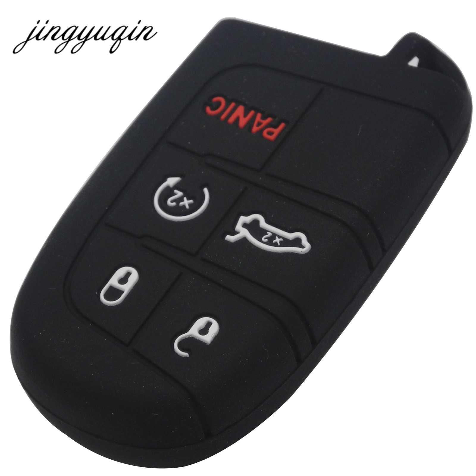 Jingyuqin סיליקון רכב מפתח מקרה עבור ג 'יפ גרנד צ' רוקי דודג 'JCUV חץ מסע קרייזלר 300C פיאט 5 כפתור מרחוק Fob כיסוי