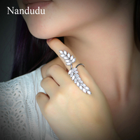 Nandudu New Arrival Silver Color Rings For Women Girl Jewelry Zircon Stone Leafs Rings Adjustable Ring