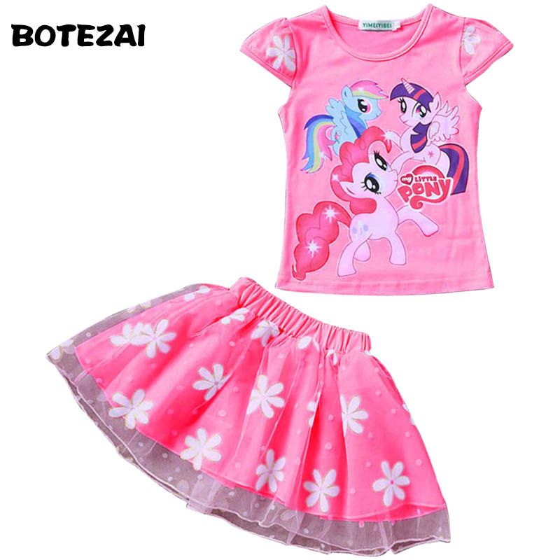 2017 New Summer Children Clothing Sets Little pony T-Shirt+Tulle Tutu Skirt 2pcs Suit Kids Casual Sport Suit Girls Clothes Set summer kids clothes suit for girls 3 13 years children army green cotton shirt clothing set boys girls clothing sport suit 174b