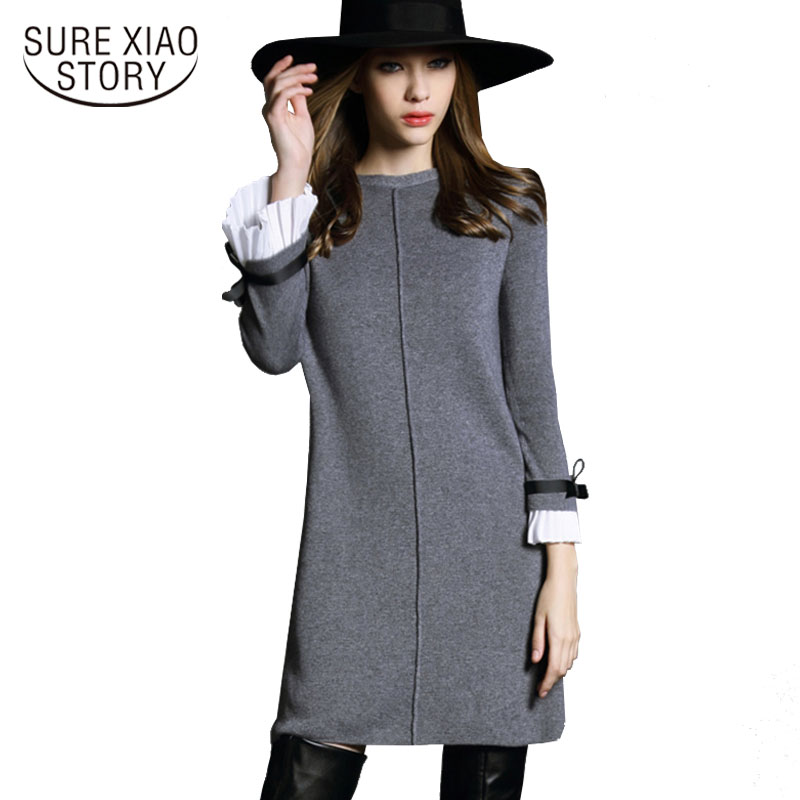 2018 Autumn Fashion Women Elegant Woolen Loose Dress Female Casual Knitted Long Sleeve Mini Dress Plus Size Sweater Dress D20030 coated rabbit knitted women dress 2018 spring elegant loose long sleeve o neck pockets dress casual female plus size
