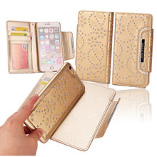 2 in 1 Maple Leaf Flower Detachable Luxury Card Slots Holder Leather Wallet  Cluth Case Flip Cover For iPhone 6 / 6 Plus 7/7Plus