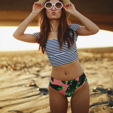 Фотография Vintage Teens High Waist Bikini Set Stripe Crop Swimming Suit Girls Swimsuit Off Shoulder Swimwear 2017 Leaf Print Bathing Suits