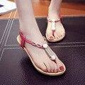 Sandálias das mulheres 2017 de alta qualidade PU casual sapatos rasos verão mulheres confortável elástico corda étnica talão sandalias mujer