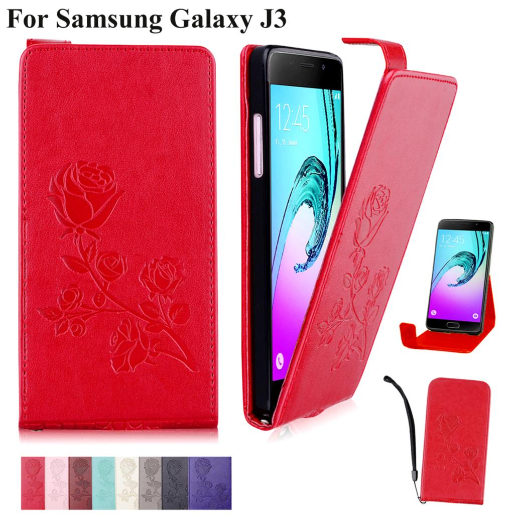 Galleria fotografica Phone Case For Samsung Galaxy J3 2015 2016 J310 j320f sm-j320f Flower Design Wallet Leather Flip Cover Cases For Galaxy SM-J300F