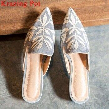 Krazing Pot art girls oxford pointed toe kid suede low heels leaves decoration slip on mules elegant fairy vintage pumps L99