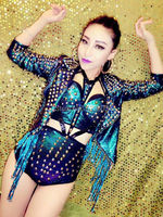Colorful Sequins Rivets Tassel Female Singer Costume Women Coat Bra Shorts Stage Performance Wear Nightclub Party Clothing Set