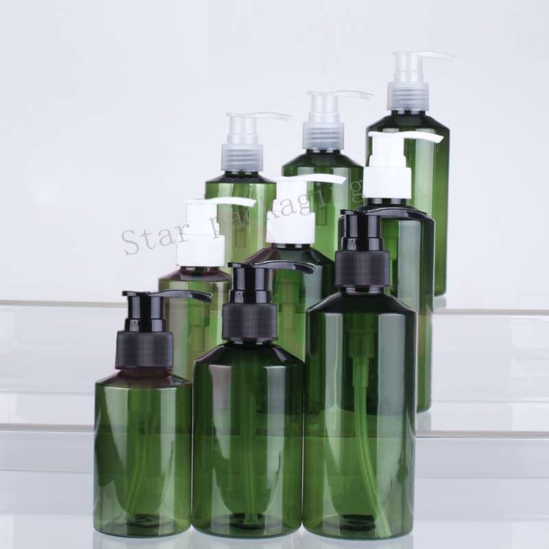 50pcs 100ml 150ml 200ml lotion pump bottle green shampoo containers for cosmetic packaging with liquid soap