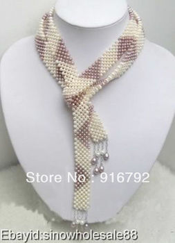 free shipping >>>>>Beautiful white purple freshwater pearl long necklace