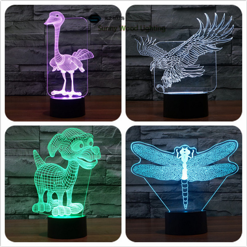 Animals switch LED 3D lamp ,Visual Illusion 7color changing 5V USB for laptop, desk decoration toy lamp