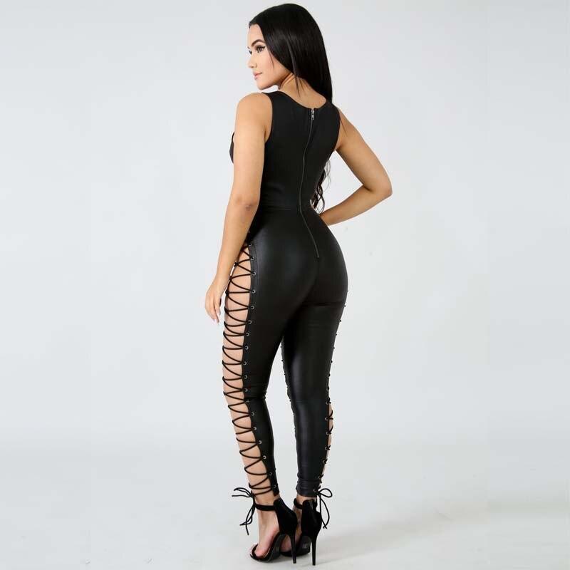 Pour Up Clubwear Black Cuir Évider Croix Femmes En Dentelle Pu Salopette Nouveau Crayon Sexy Noir 2018 D'été Bandage Les qPgOw