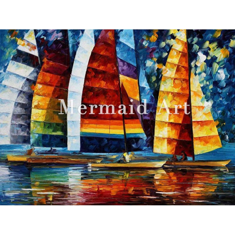 Hand Painted Oil Painting On Canvas For Abstract Sea Regatta Thick Palette Knife Painting Living Room Wall Decor Artwork Art