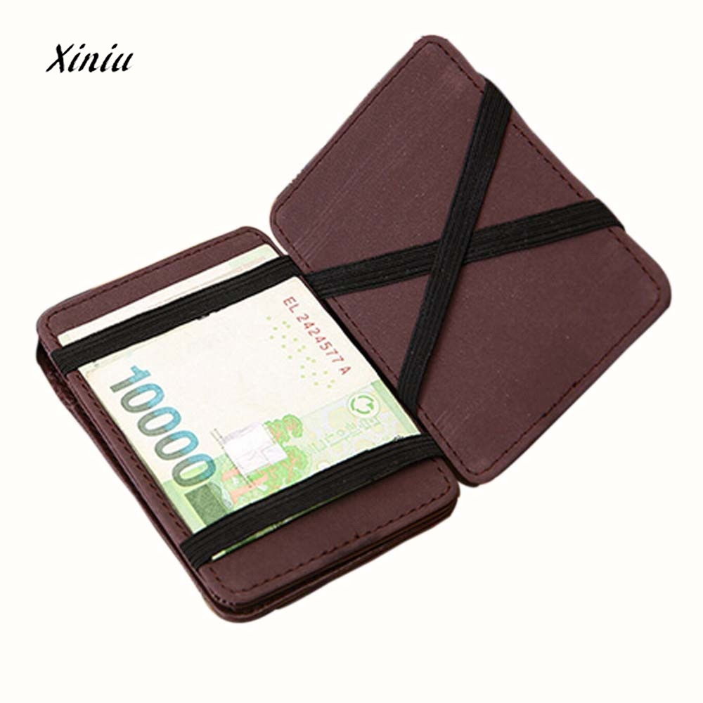 Man Mini Magic Bifold Leather Wallet Card Holder Wallet Purse High Quality slim brands wallets for men Business Card Wallet williampolo mens mini wallet black purse card holder genuine leather slim wallet men small purse short bifold cowhide 2 fold bag