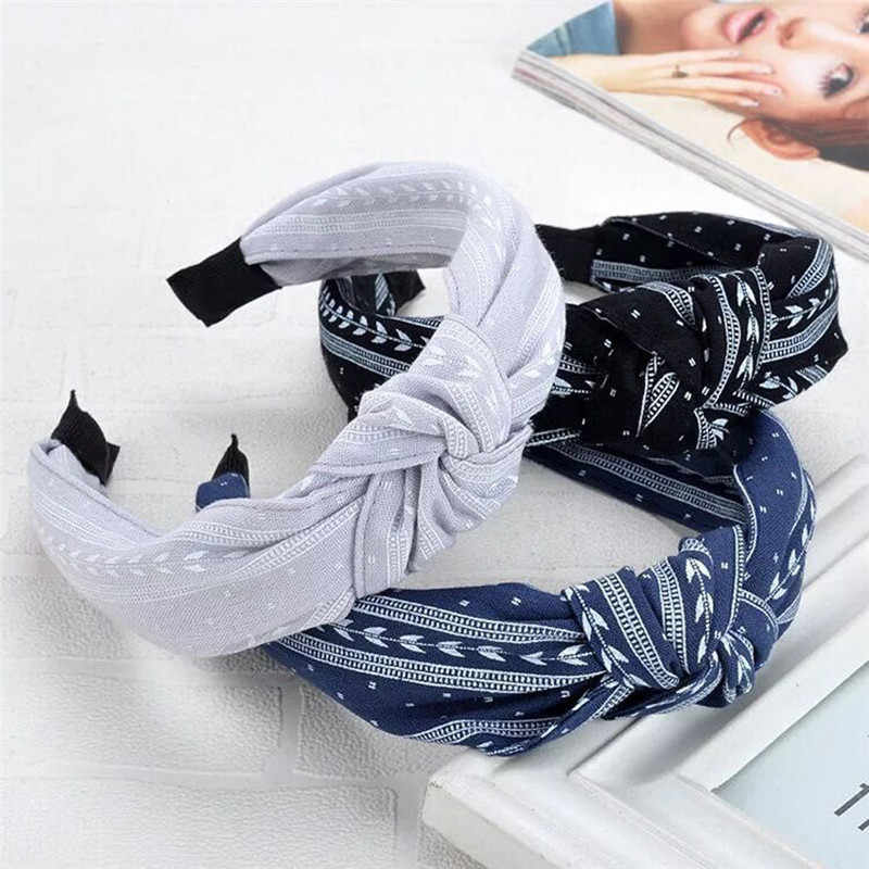 Sweet Girls Hairband Top Knot Turban Vintage Elastic Hair Head Hoop Bands Accessories Headband for Women Girls Print headdress