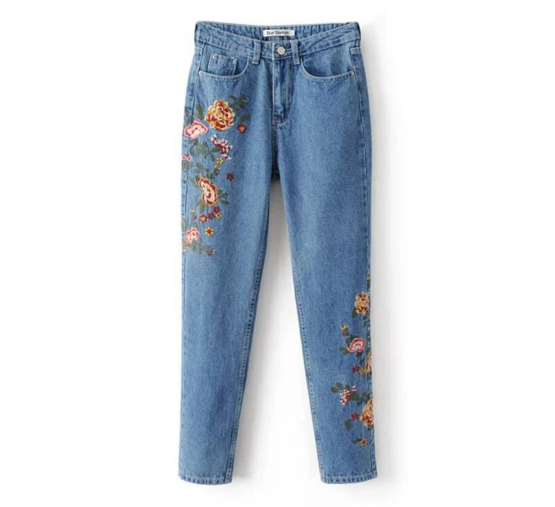 Flower embroidery jeans female Light blue casual pants capris 2017 spring autumn Pockets straight jeans women bottom flower embroidery jeans female light blue casual pants capris 2017 spring summer pockets straight jeans women bottom mz1524