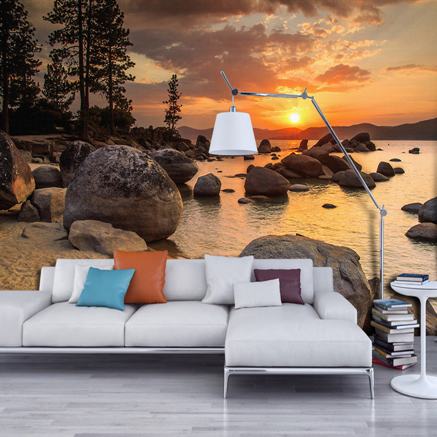 Custom photo wallpaper murals 3d sunset beach scenery for Scenery wallpaper for bedroom