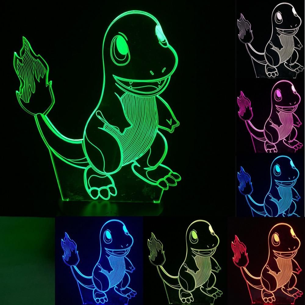 New 2017 Boy Kid Gift Pokemons Go Game Christmas 3D Small Fire Dragon LED Night Light 7Color Gradient LED Lamp Desk Table Light