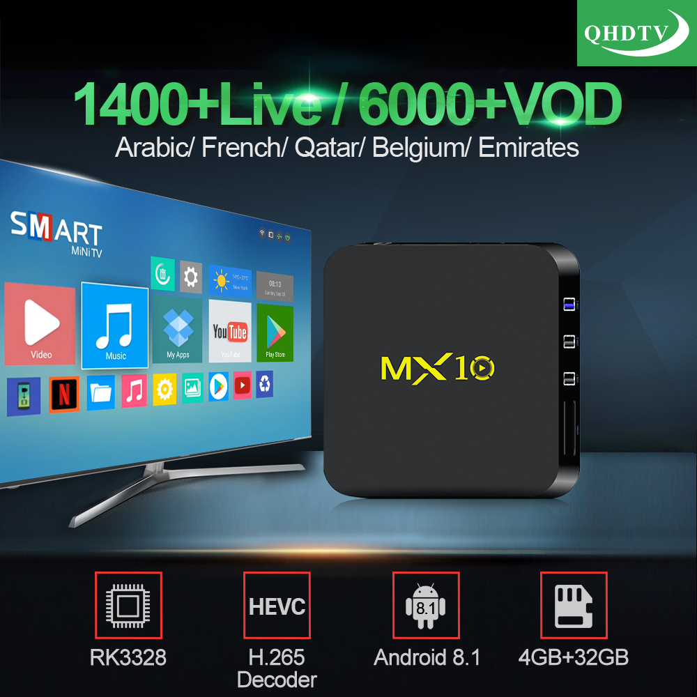 MX10 IPTV Subscription Tv Box Android 8 1 4G 32G RK3328 With QHDTV 1 Year  Code Arabic France Belgium