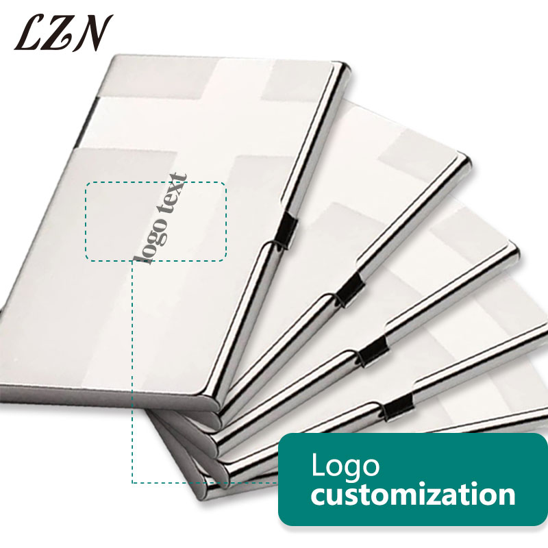 LZN Business Card Holder Women Men Passport Cover Steel Silver Aluminium Business ID Name Credit Card Free Engraved Name/Text