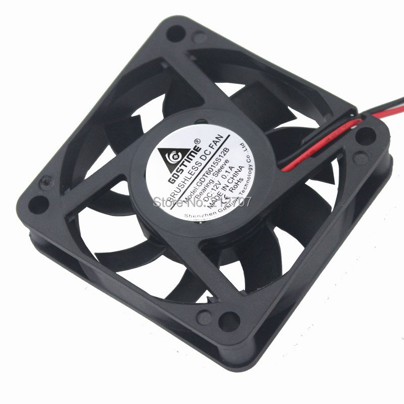 1PCS Gdstime Silent DC Cooling Heatsink Fan 6CM 60MM 6015 60 x 60 x 15mm 12V 2Pin gdstime 2 pcs 75mm x 15mm brushless 12 v 2pin dc cooling blower fan 7515 7cm 75x15mm 7 5cm