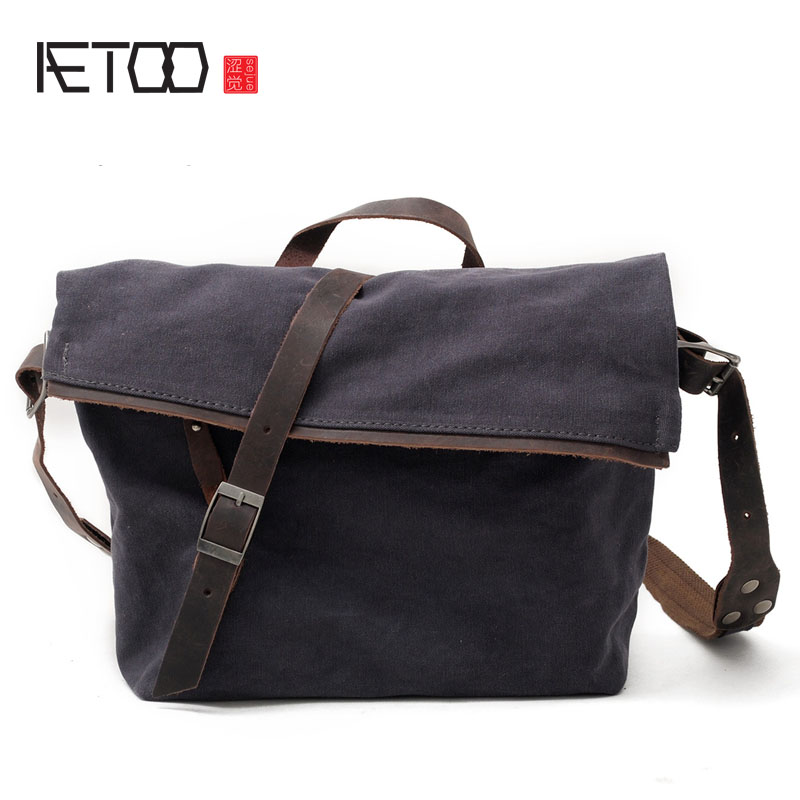 AETOO Canvas bag casual men and women shoulder bag art Fan Messenger bag cotton cloth package package casual canvas satchel men sling bag