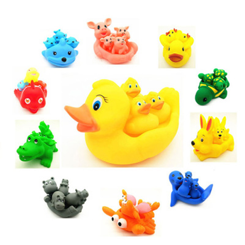 Baby Bath Toys 4pcs Cute Toy Rubber Race Squeaky Animal Set Bathing ...