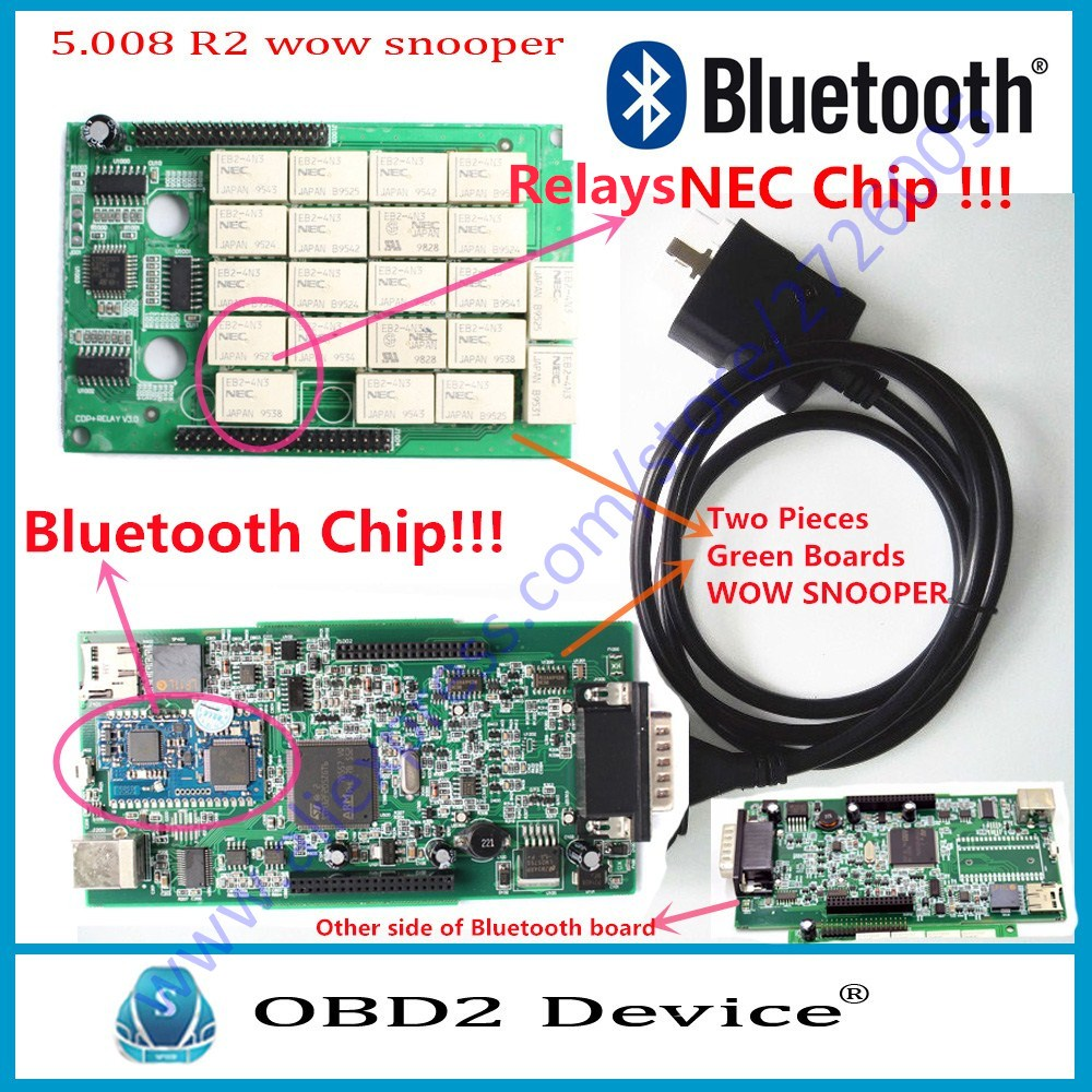 TCS VCD 5.008 R2 WOW SNOOPER Double Green PCB wow TCS cdp Car Diagnostic tool multi language for Che-vro-let for Cit-roen