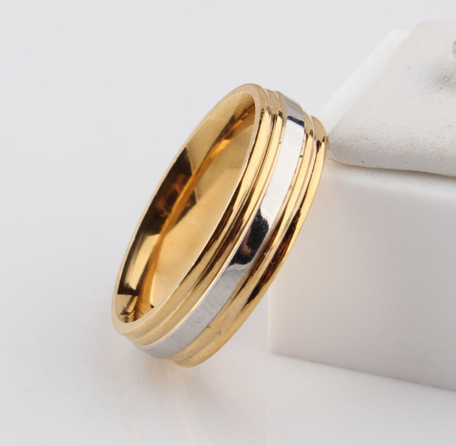 Fashion heart ring his and her golden wedding rings sets stainless