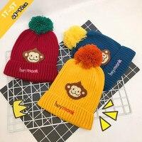 Kids Winter Hat Cute Monkey Fur Lined Baby Toddlers Cartoon Hat Crochet Beanie Monk Solid Color