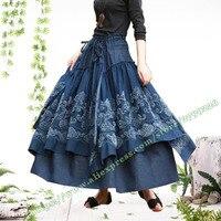 Осень зима Женская юбка конструкции/плюс Размеры 6XL Лолита Винтаж Повседневное 3D цветы пачка джинсы длиной макси юбки женские