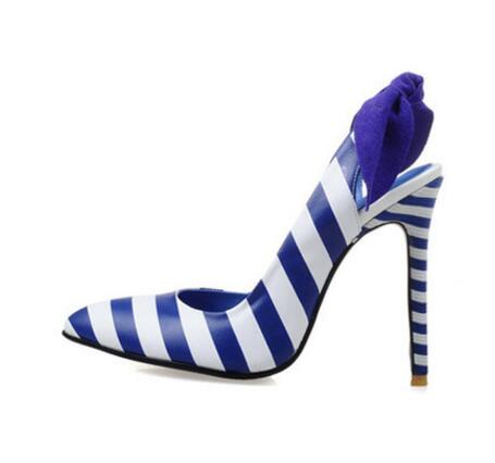 ФОТО 2017 hot selling woman high heel shoes sexy pointed toe blue white leather stripe dress heels butterfly-knot stiletto heels