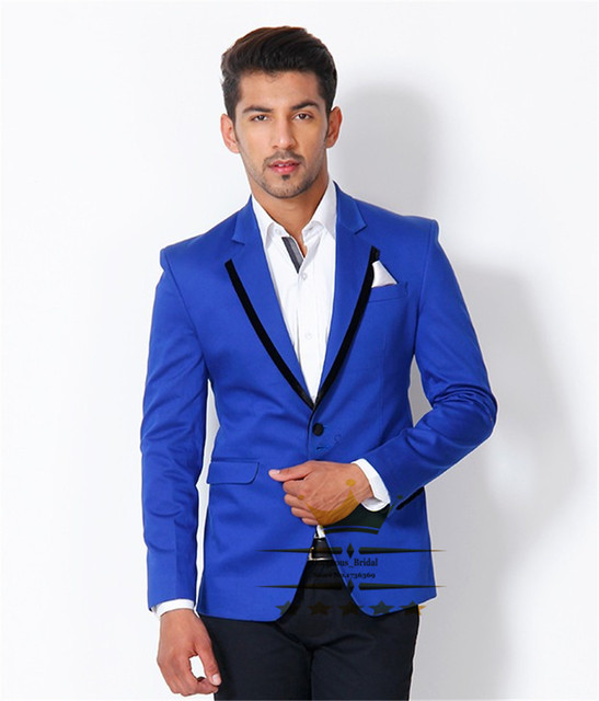 Online Shop Custom Made Royal Blue Suit With Black Pants Slim Fit ...
