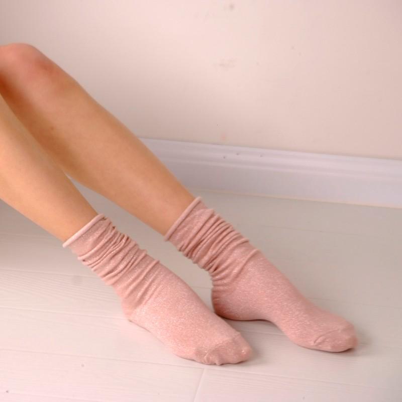 Fashion Long Socks Women Winter Cotton Happy Socks Funny Shiny Loose Glitter Socks Thick Warm Edge Curl Elegant Christmas Socks 8