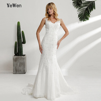 YeWen New Elegant Ivory Lace Wedding Gown Real Picture Mermaid Wedding Dress 2018 Vintage Bridal Gown