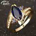 Vendendo por atacado hot Feminino Anel de Jóias Mulheres Anéis de Casamento De Ouro Cheias Para as mulheres Azul R012YBS