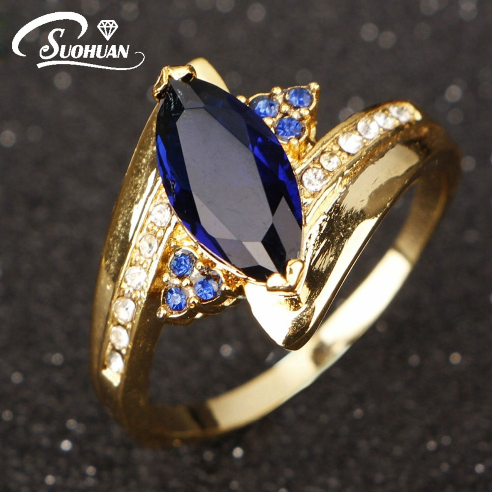 wholesale hot selling female jewelry women rings gold filled wedding ring for women blue r012ybs - Selling Wedding Ring