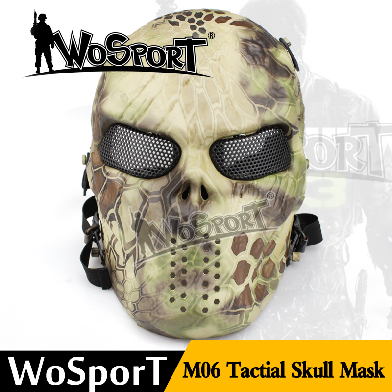 Outdoor M06 Military Paintball Airsoft Skull Protection Full Face Party Halloween Mask Ghost Camouflage Tactical Mask
