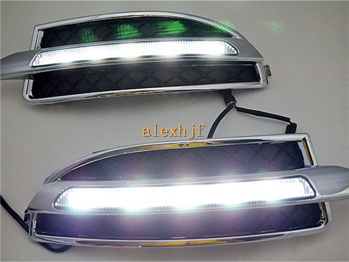 July King LED Daytime Running Lights DRL With Fog Lamp Cover Case for Skoda Octavia 1:1 Replacement, 1 Pair/lot, Free shipping july king led daytime running lights drl with fog lamp cover case for chevrolet malibu 2012 15 1 1 replacement free shipping