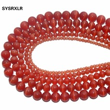 Wholesale Natural Stone Orange Opal Cat Eye Beads Round Loose For Jewelry Making DIY Bracelet 4/6/8/10/12 MM