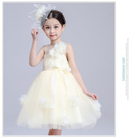 Girls Dress Princess wedding party clothes summer lace flower champagne color Kids Clothes Children Dresses vestidos mujer 3T 4T