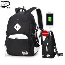 FengDong 2 pcs Porta USB preto e branco mochila para adolescentes homens sacos de viagem de um ombro masculino saco peito estilingue conjunto sacos de escola