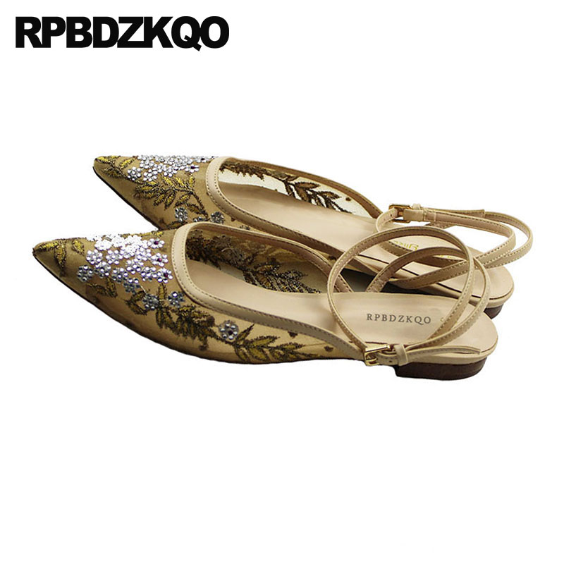 Women Flower Nude Flats Slingback Ankle Strap Mesh Sandals Chinese Embroidered Shoes Breathable Pointed Toe Floral Embroidery black v neck floral embroidered mesh bodysuit