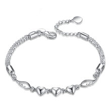 цена Trendy Heart Wing Bracelet Bangles For Women Silver Plated Cuff Jewelry Gift Extended Link Chain Drop shipping Wholesale