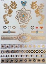 21x15cm Hot Golden Flash Tattoos Beauty Fashion Gold Silver Color Temporary Tattoos