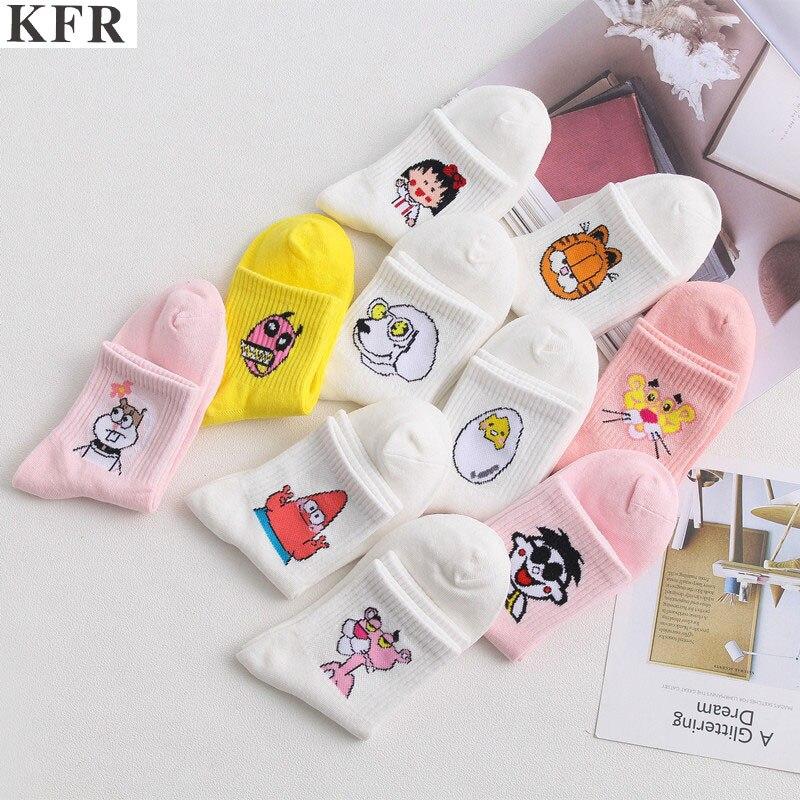 Cartoon   Socks   Winter Cotton Women   Socks   Ankle Cute Pink Kawaii Funny Harajuku Animals Pattern Casual Korean Cartoon Long   Socks