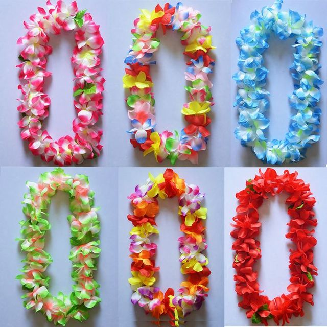 lei blinking hawaiian flower luau necklace rave flashing itm pcs led light up photo